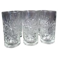 "Set of 8 Heavy 6"" Hobstar Pattern Glasses by Libbey"