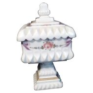 Westmoreland White Milk Glass Candy Dish Bows and Roses