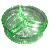 Florescent Green Uranium Glass Divided Bowl