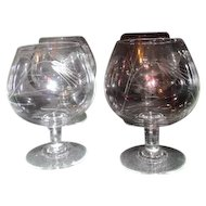 Set of 4 Crystal Brandy Snifters Bent/Cut Wheat Pattern