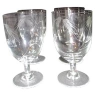 Set of 4 Crystal Water Goblets Bent/Cut Wheat Pattern