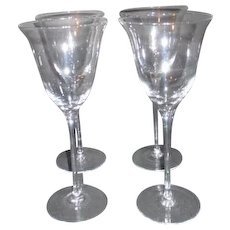 Set of 4 Tall Stemmed Wine Goblets Clear Glass
