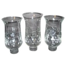 Set of Three Hurricane Lamp Globes with Acid Etched Grapes Motif