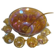 Iridescent Gold Carnival Glass Punch Bowl 12 Cups and Ladle by Indiana Glass Original Box