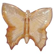 Marigold Carnival Glass Butterfly Candy Dish by Jeannette Glass Co