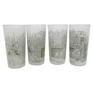 Set of 4 Frosted Drinking Glasses Home by the Hearth Motif