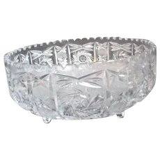 Clear Crystal Footed Bowl with Cut Designs
