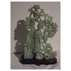 Vintage Stone Lady and Child with base