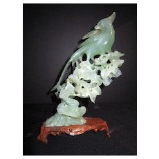 Vintage Stone Carving of Phoenix in a Tree