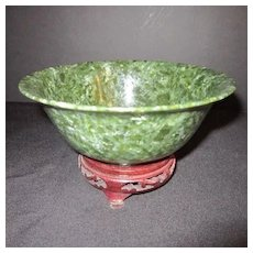 Beautiful Antique Chinese Spinach Jade Bowl