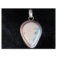 "Vintage ""Crazy Horse"" pendant stone set in sterling"