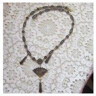 Vintage Japanese Komai Shakudo Drama-scene Jewelry Necklace