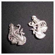 Vintage Sterling Silver Clip on Siam Dancer Earrings