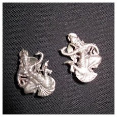Vintage Sterling Silver Clip on Siam Dancer Earrings