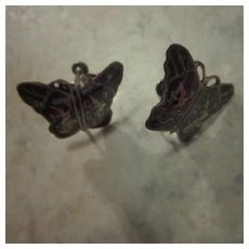 Vintage Siam Niello Silver Butterfly Screw on earrings