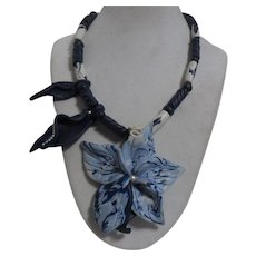 Unsigned Handcrafted Polymer Clay Beaded Necklace with Flower Pendant