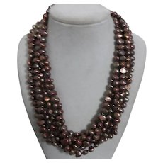Unsigned 6 Strand Copper beads Necklace with Magnetic Clasp