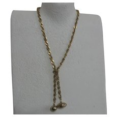 Unsigned Gold Tone/Brass Chain Necklace with Football and Baseball Charms