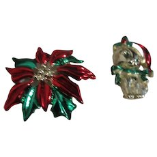 Gerry Christmas Pins/Brooches Set of 2 with Earrings