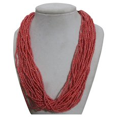 Multi-strand Glass Bead Necklace with Wood Clasp
