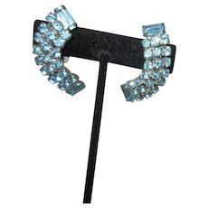 Pair of Unsigned Light Blue Rhinestone Clip-on Earrings