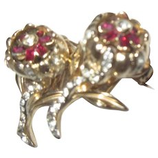 Double Flower Duette Red & White Rhinestone Gold Tone