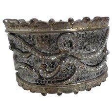 Silver Toned Cuff Bracelet with Rhinestones