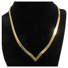 Gold Tone Herringbone Pattern Flat Chain Necklace