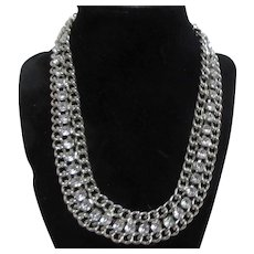 Cookie Lee Necklace Silver Tone Chains with Rhinestone Row