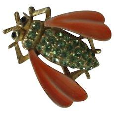 JJ Jonette Bug Brooch with Green Rhinestones