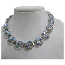 Silvertone and Blue Rainbow Rhinestone Choker Style Necklace