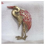 Vintage Goldtone Heron with Red Rhinestones Brooch