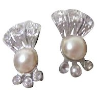 One Faux Pearl and Rhinestones Screw-on Earrings