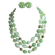Sea Foam Colored Bead Necklace and Earrings Set West Germany