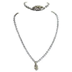 Chain and Pendant Set of Necklace and Bracelet Modernistic Design