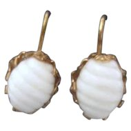 Miriam Haskell White Scored Plastic Oval with Rose Goldtone Screw on Earrings