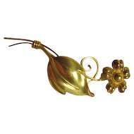 Van Dell Gold Filled Flower Lapel Pin