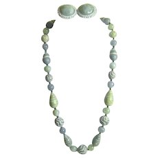 Set of Beaded Necklace and Clip Earrings Sea Foam Colors