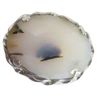 Oval Polished Stone Brooch in Silver-tone Setting