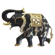 Black Elephant with Goldtone Highlights and Rhinestones Brooch