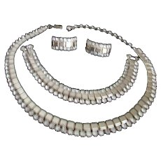 Matching Set of Necklace Earrings and Bracelet with Rhinestones