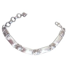 Silver Toned Bracelet with Filigree and Engraving