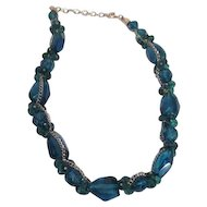 Deep Blue Glass Chunky Large Bead Necklace