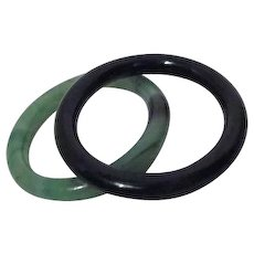 Set of Two Solid Glass (Faux Jade) Bangles Green and Black