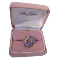 Blue Tanzanite and Gold Ring
