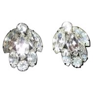 "Pair of 1"" Weiss Rhinestone Clip-on Earrings"