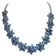 Blue and Green Rhinestone Necklace