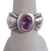 Sterling Silver Ring with Amethyst 6 3/4 Size