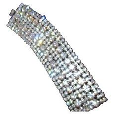 Unsigned 8 Row Wide Rhinestone Bracelet