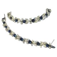 Lisner 2 Piece Set Blue and White Rhinestones Necklace and Bracelet